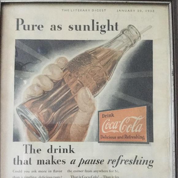 Vintage Coca-cola 5 Cents Advertisement Canvas Art Poster Reproduction Print